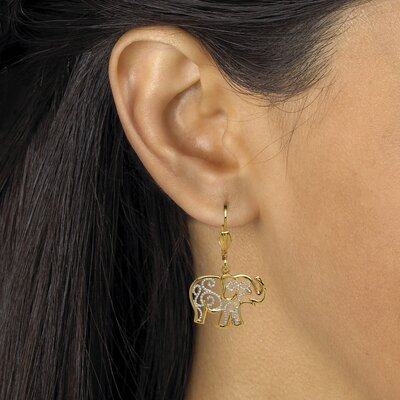 Palm Beach Jewelry Filigree Elephant Pierced Earrings