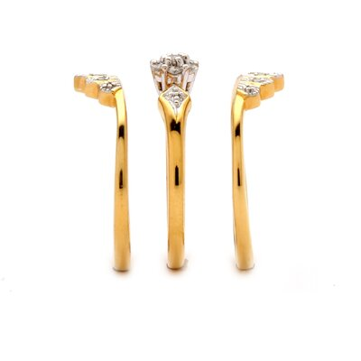 Palm Beach Jewelry Brass Full and Round Diamond Crown Wedding Ring Set