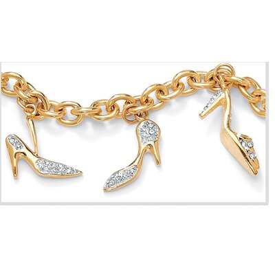 Palm Beach Jewelry 14k Gold-Plated Shoe Crystal High Heel Charm Bracelet