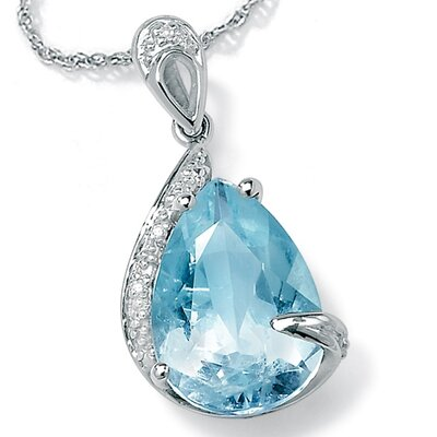 Aquamarine/Diamond Accent Pendant