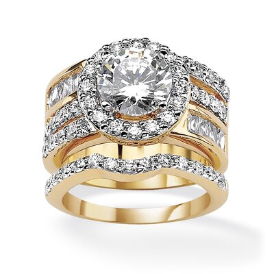 Cubic Zirconia Circle Wedding Ring Set