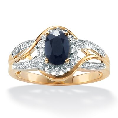 10k Yellow Gold Oval Cut Sapphire Halo Ring