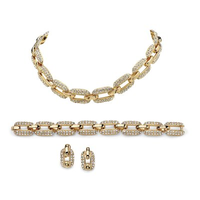 Palm Beach Jewelry 14k Yellow Gold Round Cut Crystal Jewelry Set