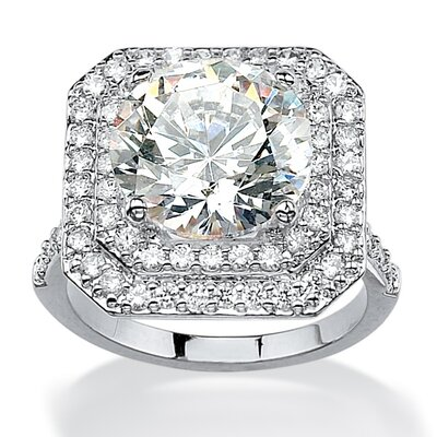 Round Cut Cubic Zirconia Halo Ring