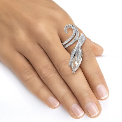 Palm Beach Jewelry Platinum Pear Cut Cubic Zirconia Statement Ring