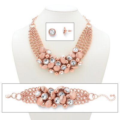 Rose Gold Rhinestone Statement Jewelry Set