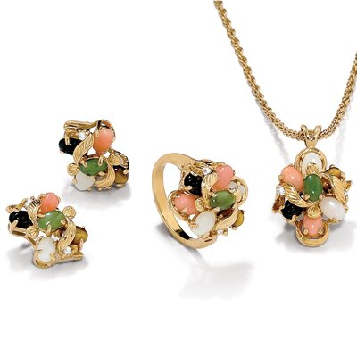 14k Gold Gemstone Jewelry Set