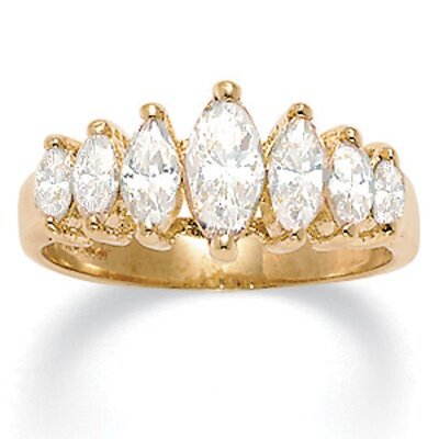 18k Gold-Plated Marquise Cubic Zirconia Ring