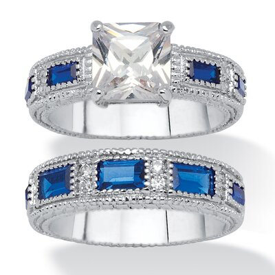 Platinum-Plated Bridal Ring Set