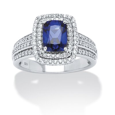 Platinum Over Silver Emerald Cut Blue Sapphire Cubic Zirconia Ring