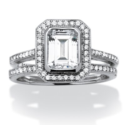 Platinum Over Silver Emerald Cut Cubic Zirconia Ring Set