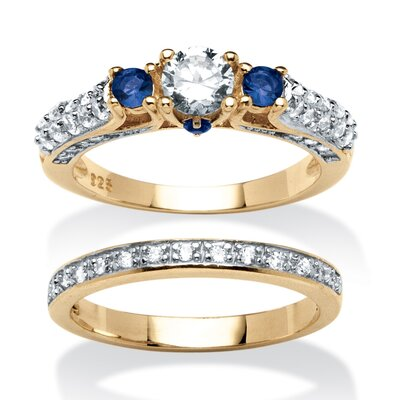 2 Piece 18k Gold Over Silver Birthstone Ring Set