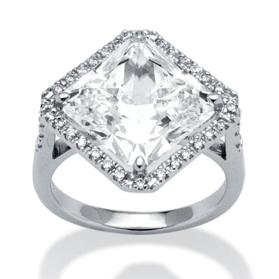 Platinum Over Silver Square Cut Cubic Zirconia Ring