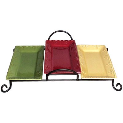 "Signature Housewares Sorrento 11.5"" Three Tray Tiered Server with Caddy"