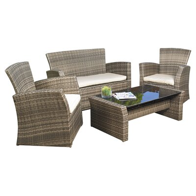 Mission Hills Redondo 4 Piece Lounge Seating Group with Cushions