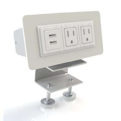 Scale 1:1 EYHOV Rail Desktop Mounted Power Unit with 2 Outlets and 2 USB Ports ...