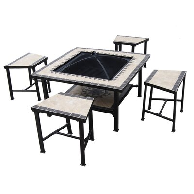 Serengeti Sunrise 5 Piece Dining Set with Firepit