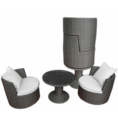 Deeco Geo-Vino All Weather Wicker Lounge Seating Group with Cushions