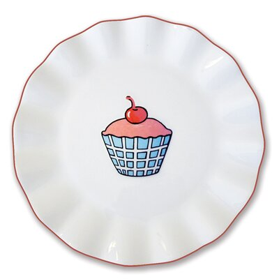 Omniware Everyday Cupcake Plaid Plate
