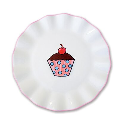 Omniware Everyday Cupcake Polka Dots Plate