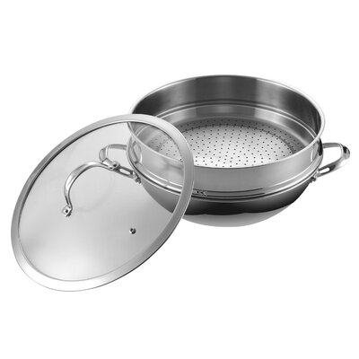 Stainless Steel Chef's Pan with Steamer and Glass Lid