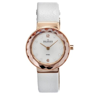 Skagen Leather Women's Crystal Watch
