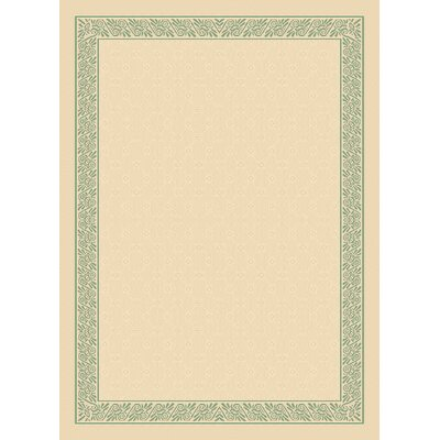 Direct Home Textiles Four Seasons Natural/ Sage Green Ornate Scroll Rug