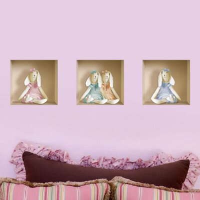 3D Effect Stuffed Bunny Wall Decal (3-Piece Set)