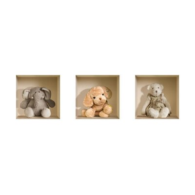 3D Effect Nursery Stuffed Toy Wall Decals (Set of 3)
