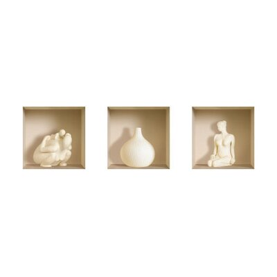 3D Effect Ceramic Figure Wall Decals (Set of 3)