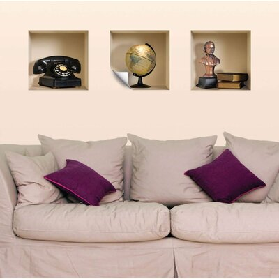 Nisha 3D Effect Phone / Globe / Bust / Book Wall Decals
