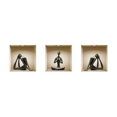 3D Effect Yoga Silhouette Figurine Wall Decals (Set of 3)