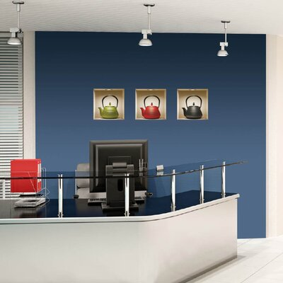 Nisha 3D Effect Teapot Wall Decals (Set of 3)