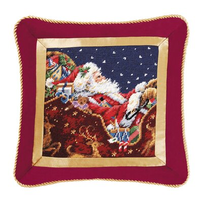 C & F Enterprises Santa with Sleigh Needlepoint Pillow
