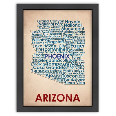 Typography Maps Arizona Poster