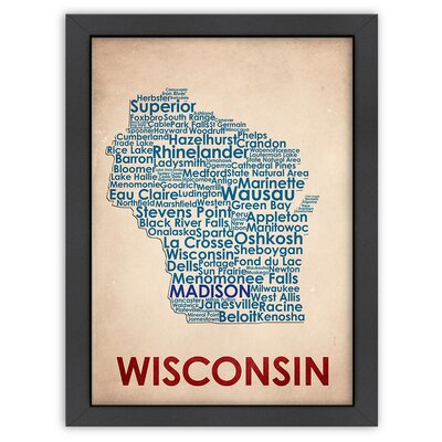 Typography Maps Wisconsin Poster