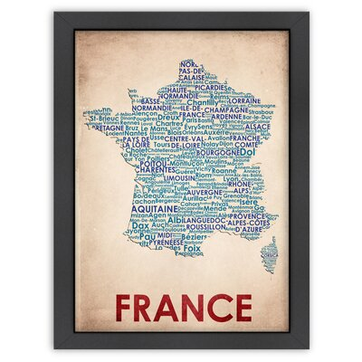 Typography Maps France Poster
