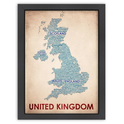Typography Maps United Kingdom Poster