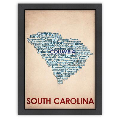 Typography Maps South Carolina Poster