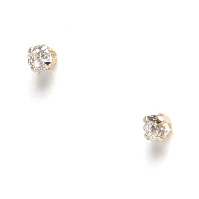 Jewelryweb 14k 2.25mm CZ Baby Earrings