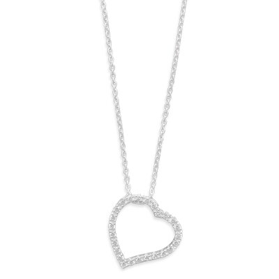 Jewelryweb Sterling Silver 16 Inch Chain With Cut Out CZ Heart Necklace