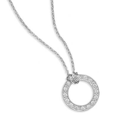 Jewelryweb 16 Inch Rhodium Plated Necklace Pave CZ Open Circle 3.2mmWide Cz Circle Measures 20mmIn Diameter