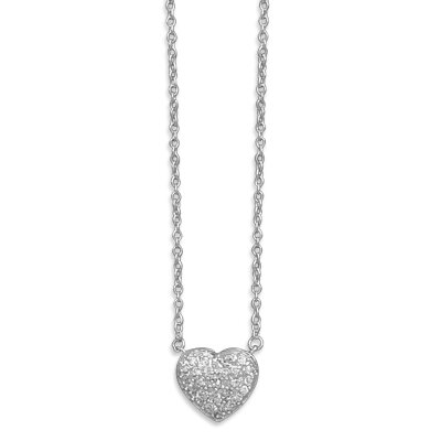 16 Inch Rhodium Plated Pave CZ Heart Necklace 1.5mmChain Spring Ring Closure - 13mm Pave ...