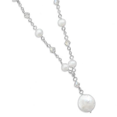 Sterling Silver 16 Inch+ 2 InchExtention White Coin Cultured Fw Pearl swarovski Crystal Necklace