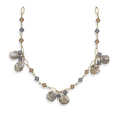 Jewelryweb Sterling Silver 16 Inch+2 InchExtention 14/20 Gold Filled Necklace Keshi Pearl swarovski Crystals