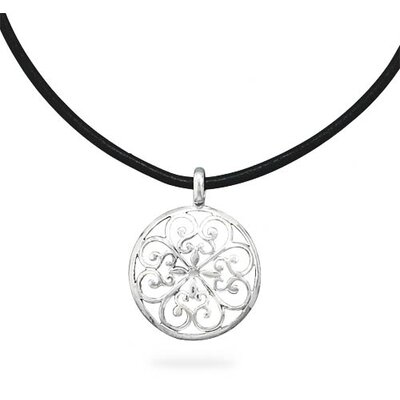 Sterling Silver 18 Inch Black Leather Necklace and Scroll Design Pendant