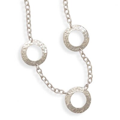 31 InchSterling Silver Link Toggle Necklace With 5 Open Hammered Discs