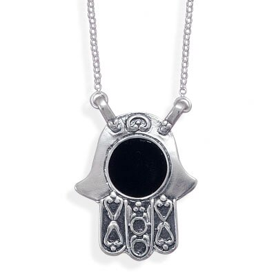 Jewelryweb 16 InchSterling Silver Link Necklace and Hamsa With Black Onyx Pendant