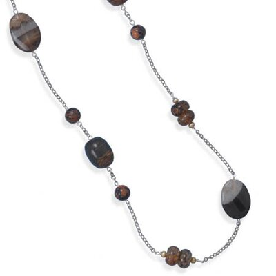 Sterling Silver 38 InchMultistone Link Necklace