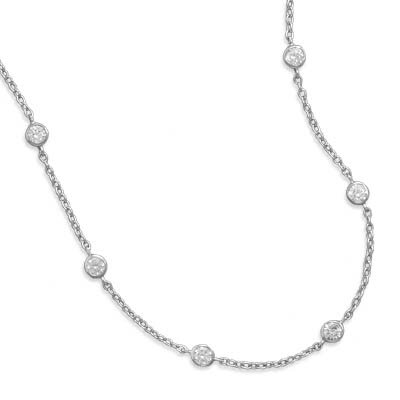 16 In+2 InchExtention Rhodium Plated 6 Bezel Set CZ Necklace 4mmCzs a Spring Ring Clasp ...